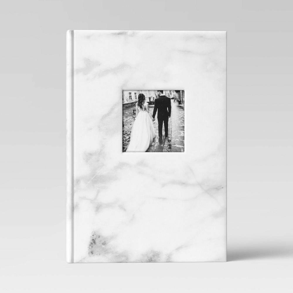 """Image of """"4"""""""" x 6"""""""" Marble Photo Album with Frame Front White 3 Per Page - Threshold"""""""