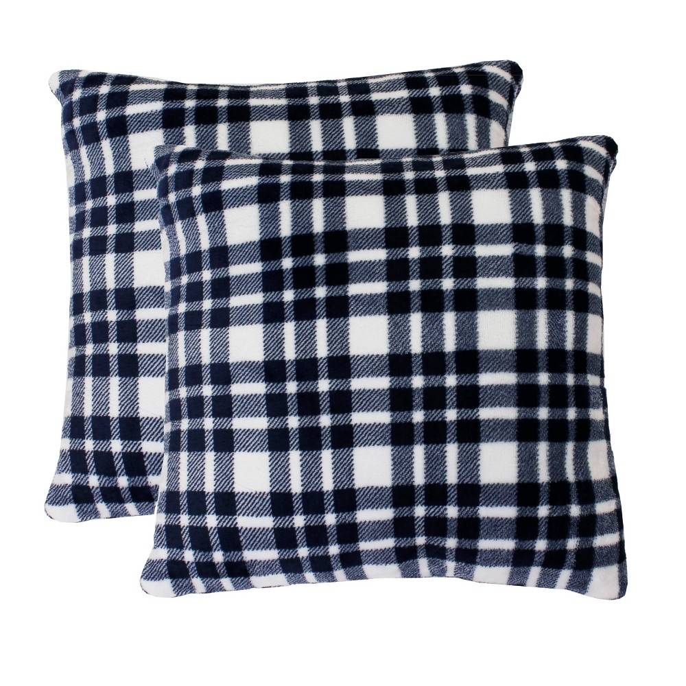 Image of 2pk Bright White Peacoat Navy Classic Plaid Fleece Pillow Navy - Décor Therapy, Blue