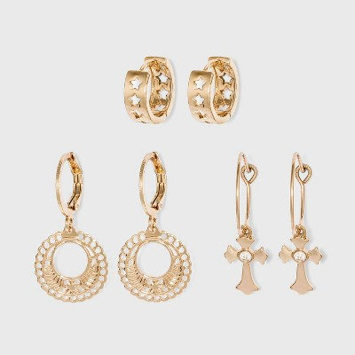 Shiny Gold Hoop Earring Set 3pc - Wild Fable™ Gold