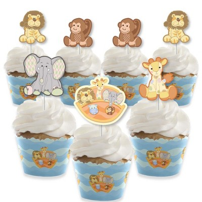 Big Dot of Happiness Noah's Ark - Cupcake Decoration - Baby Shower Cupcake Wrappers and Treat Picks Kit - Set of 24
