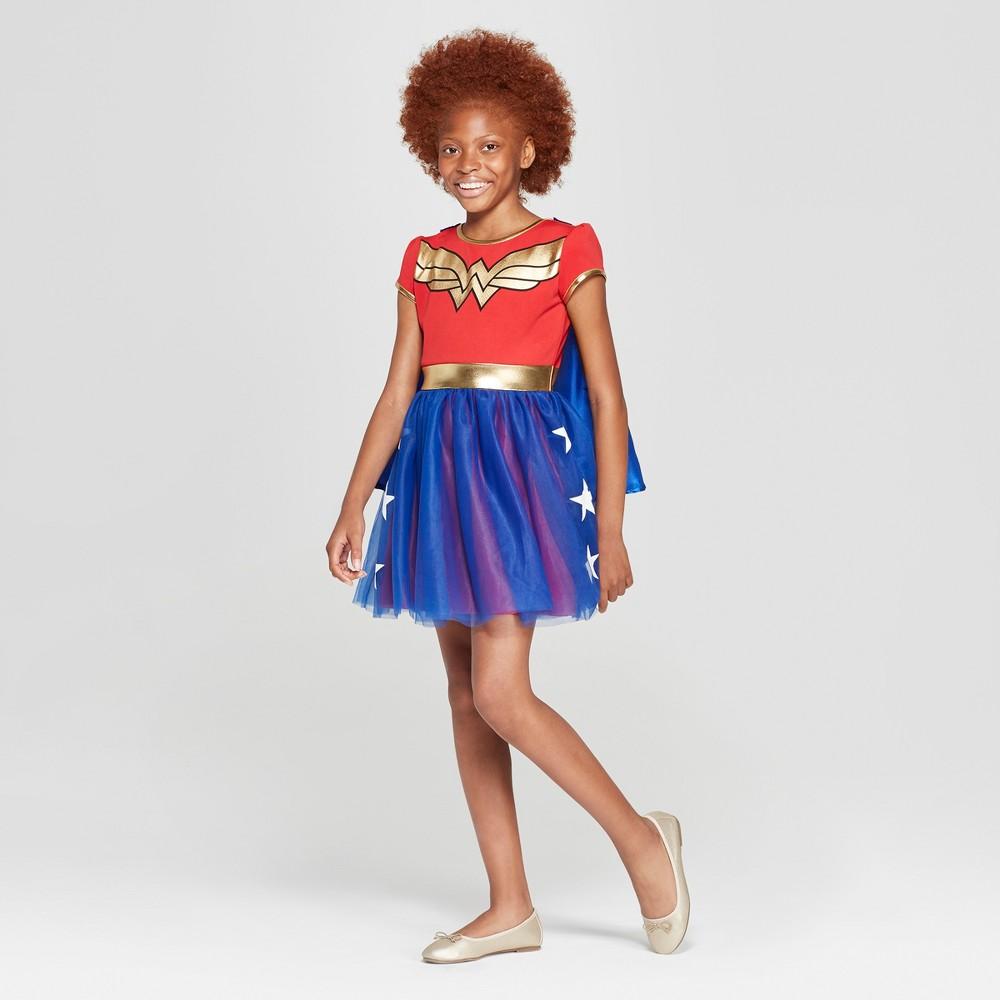 Girls' Wonder Woman Short Sleeve Cosplay Dress - Red/Navy L
