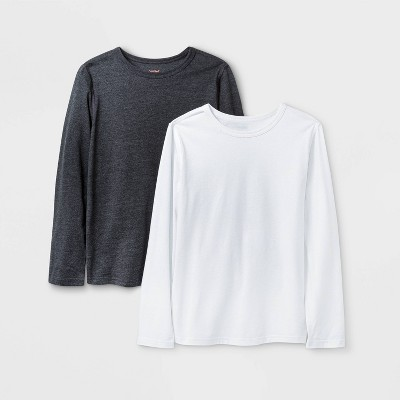 Boys' 2pk Adaptive Long Sleeve T-Shirt - Cat & Jack™ White/Black