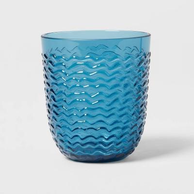 13oz Plastic Wave Texture Short Tumbler Blue - Opalhouse™