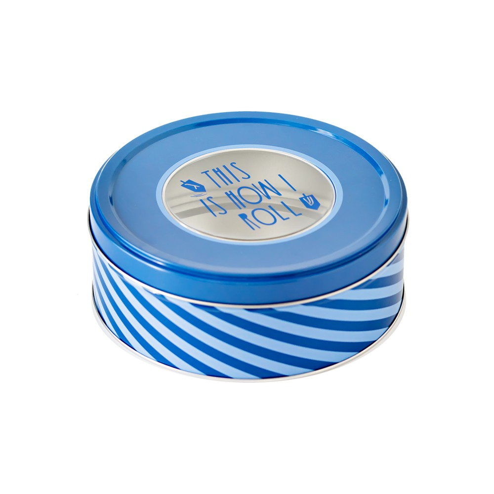 Hanukkah Round Cookie Tin Blue