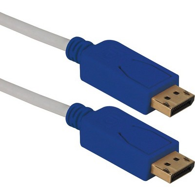 QVS 6ft DisplayPort UltraHD 4K Black Cable with Blue Connectors & Latches
