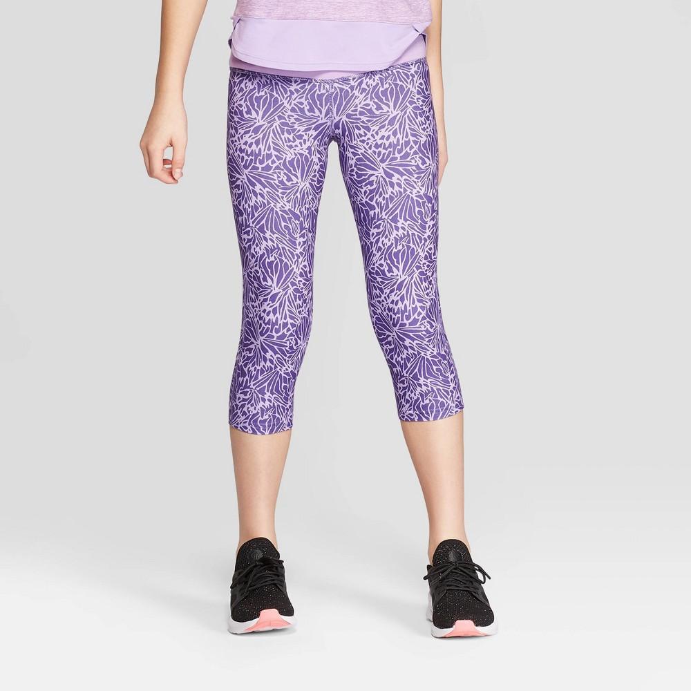 Girls' Floral Printed Performance Capri Leggings - C9 Champion Purple M