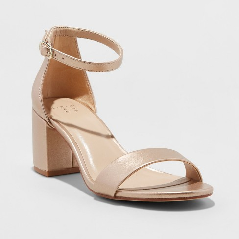 dee19ff8391 Women's Michaela Satin Mid Block Heel - A New Day™ Rose Gold 12
