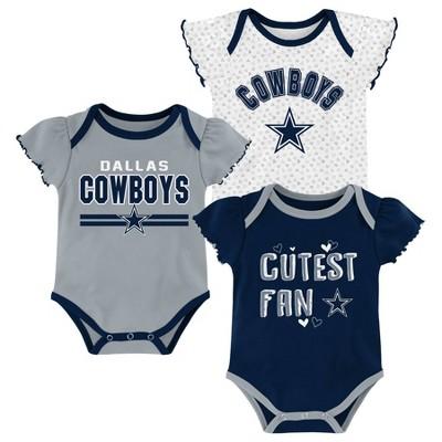 NFL Dallas Cowboys Baby Girls' Bodysuits 3pk - 3-6M