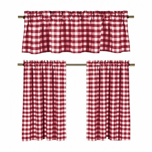 Goodgram Candy Apple Red White Country Checkered Plaid Kitchen Tier Curtain Valance Set 58 In W X 36 L Target