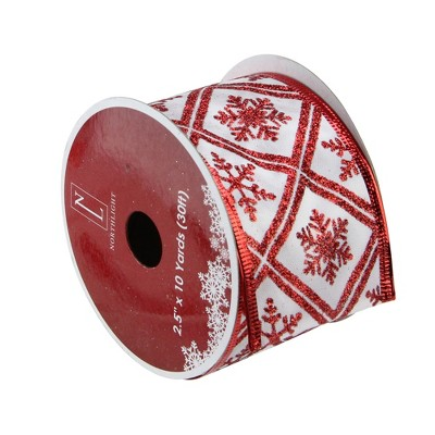 "Northlight Club Pack of 12 White and Red Snowflake Wired Christmas Craft Ribbon Spools 2.5"" x 120 Yards"
