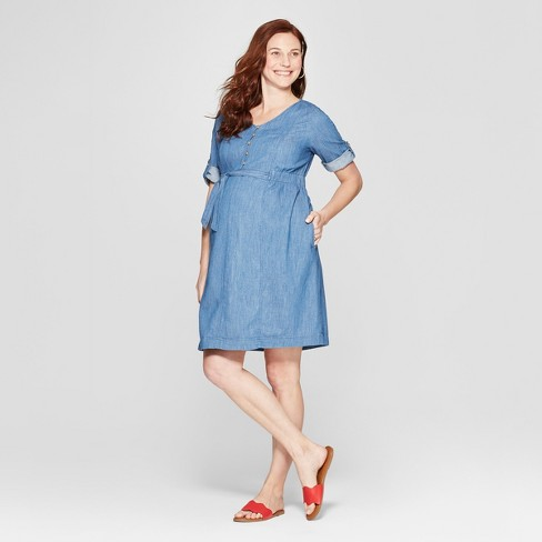 9d76934590a Maternity Tie Waist Denim Shirtdress - Isabel Maternity by Ingrid   Isabel™ Medium  Wash