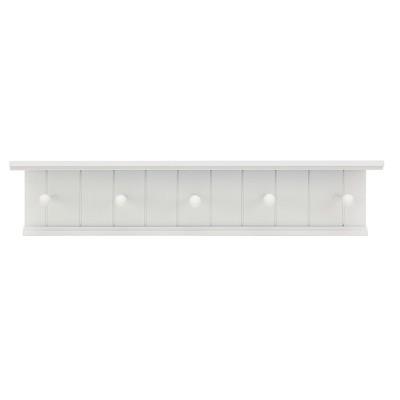 Kian Wall Shelf with Pegs - White