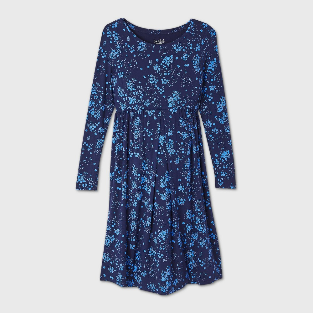 Floral Print Long Sleeve A Line Maternity Dress Isabel Maternity By Ingrid 38 Isabel 8482 Navy Xs
