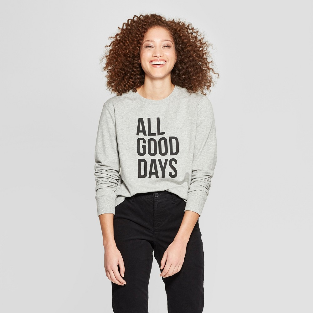 Women's Long Sleeve Crew Neck Pullover - A New Day Heather Gray XS