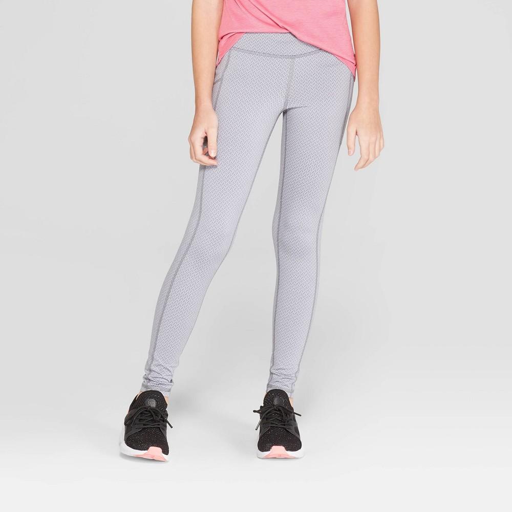Girls' Jacquard Premium Performance Leggings With Pockets - C9 Champion Heather Grey L
