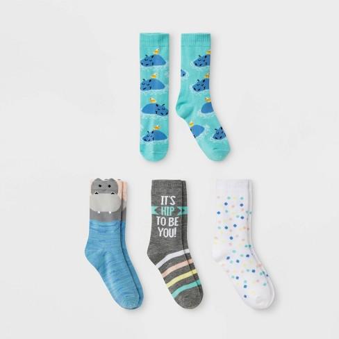 510826b554 Girls  Hippo Print Crew Socks - Cat   Jack™ Colors May Vary   Target