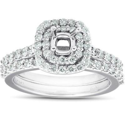 Pompeii3 3/4Ct Double Cushion Halo Diamond Engagement Ring Setting Mount 14k White Gold