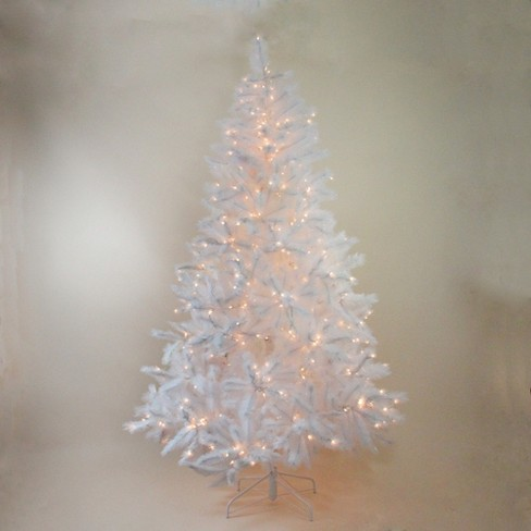 Northlight 7 5 Prelit Artificial Christmas Tree Sparkling White Alaskan Pine Clear Lights