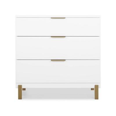 Delta Children Hendrix 3 Drawer Dresser - Bianca White/Bronze