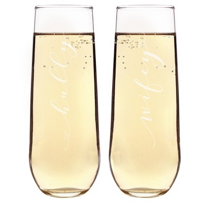 2ct  Wifey & Hubby  Stemless Champagne Flutes