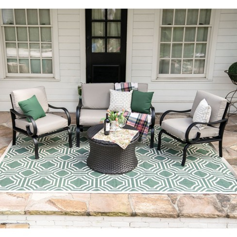 4pc Savannah All-Weather Wicker Chat Set - Leisure Made - image 1 of 5
