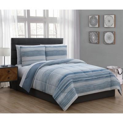 King 7pc Laken Comforter Set Blue - Addison Home