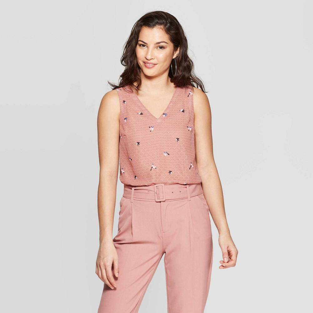 Women's Floral Print Sleeveless V-Neck Dot Shell Shirt - A New Day Pink Xxl