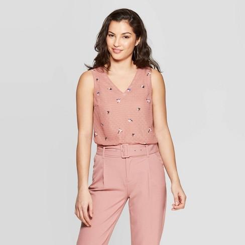 95befbd3de206 Women s Floral Print Sleeveless V-Neck Dot Shell Shirt - A New Day™ Pink