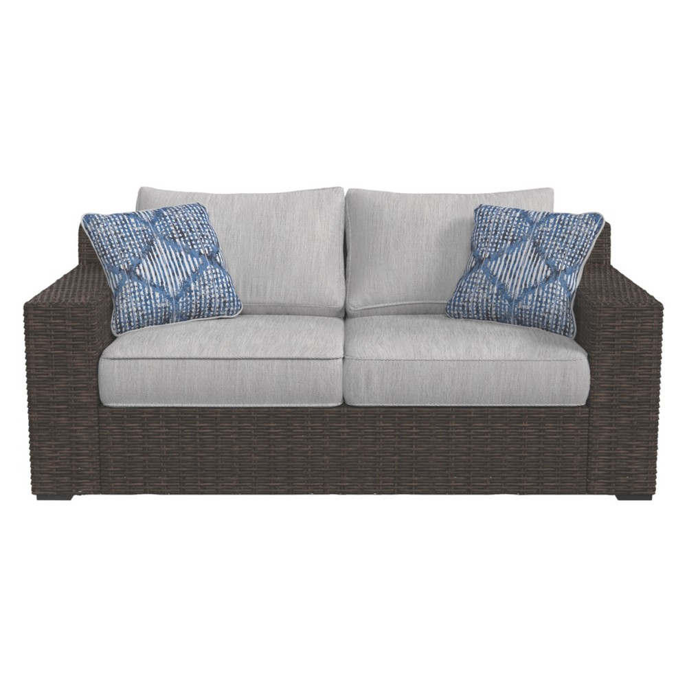 Image of Alta Grande Loveseat with Cushion - Beige/Brown - Outdoor by Ashley