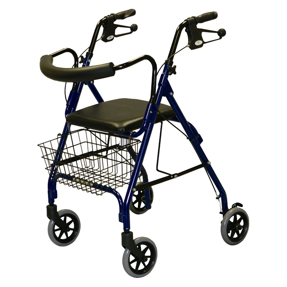 Medline folding Rollator and Walker - Blue This rolling walker helps you move and shop with ease when a health condition impairs your mobility. Featuring a hand-operated breaking system, it stops and locks into place without exerting you. Fold it up after use for convenient travel and storage. Color: Blue.