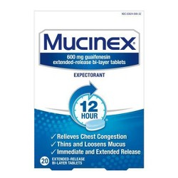 Mucinex 12-Hour Chest Congestion Expectorant Tablets - 20ct