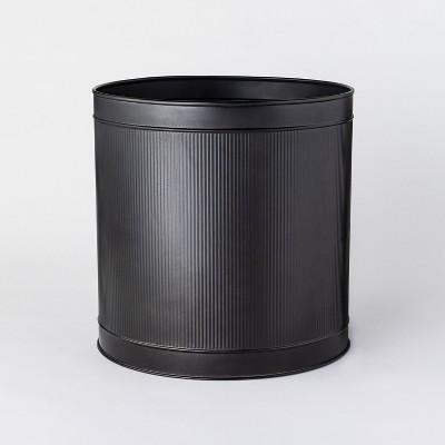 "14.75"" Ribbed Metal Planter Black - Threshold™ designed with Studio McGee"
