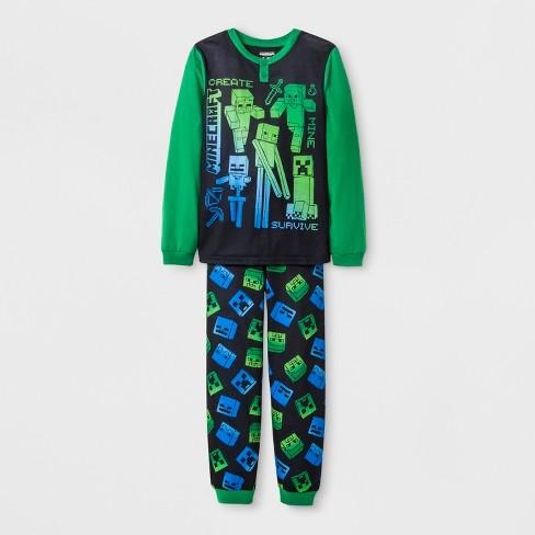 4b75c35b6138 Boys  Minecraft 2pc Pajama Set - Black Green   Target