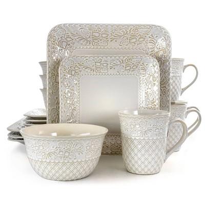 16pc Stoneware Floral Dove Dinnerware Set White - Elama