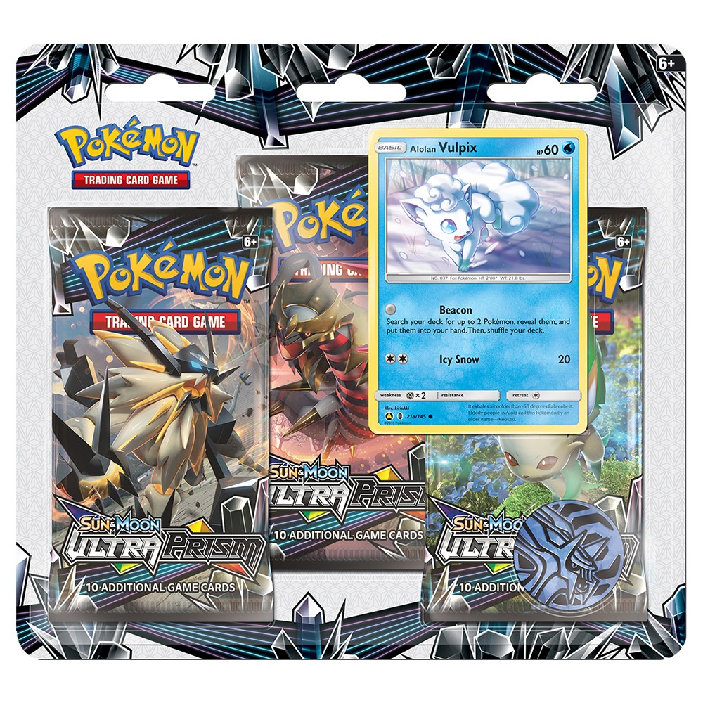 Pokemon Trading Card Game Sun Moon Ultra Prism 3pk Blister featuring Vulpiz Give your collection a boost! Get in on the latest Pokemon Trading Card Game action with three awesome booster packs from the new Sun and Moon -Ultra Prism expansion, a special holographic promo card featuring Vulpiz, a cool Pokemon Coin to add to your collection , and a code card for the Pokemon Trading Card Game Online. Gender: Unisex.