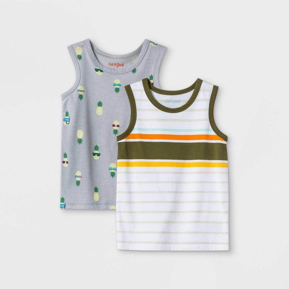 Toddler Boys 39 2pk Jersey Knit Tank Top Cat 38 Jack 8482 Olive Gray 18m