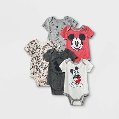 Baby Boys' 5pk Mickey Mouse Knit Short Sleeve Bodysuit