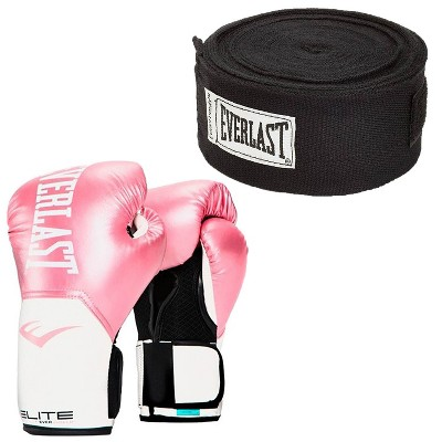 Everlast Pink Elite Pro Style Boxing Gloves 12 ounce & Black 120 Inch Hand Wraps