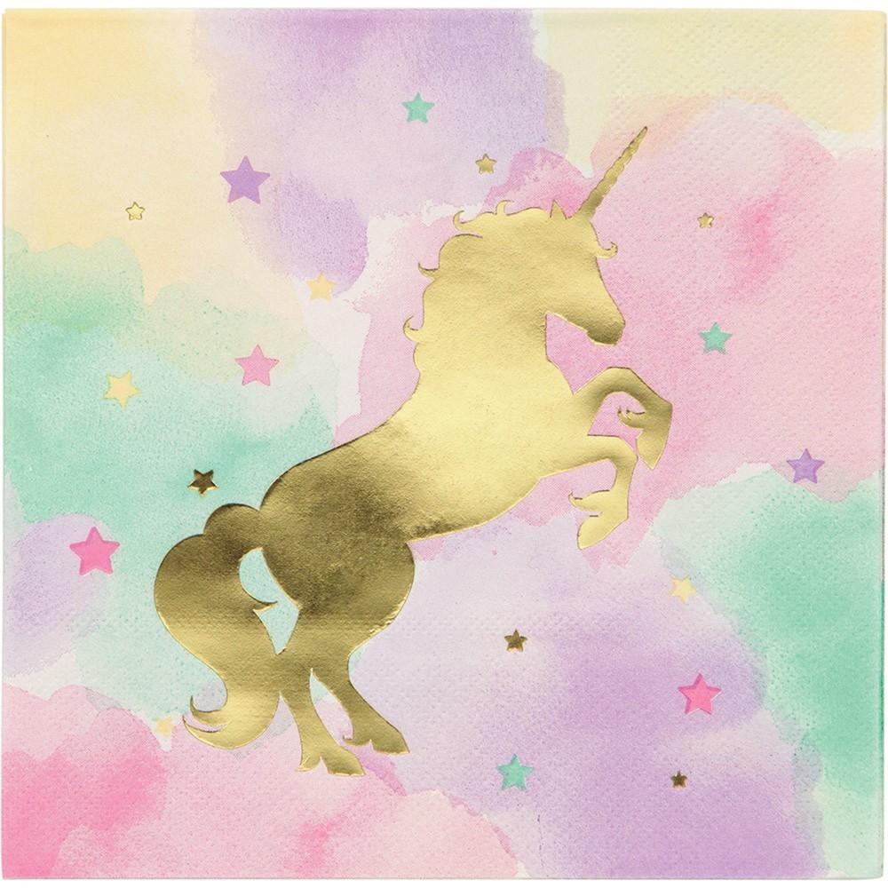 Image of 16ct Unicorn Sparkle Print Lunch Napkin