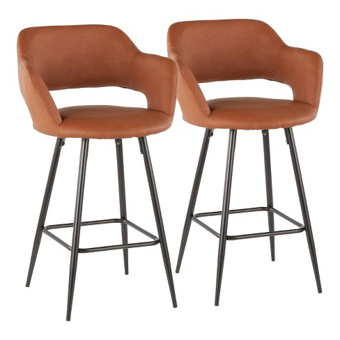 Set of 2 Margarite Contemporary Counter Height Barstool Faux Leather - LumiSource - image 1 of 4