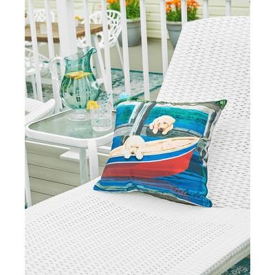 """C&F Home 18"""" X 18"""" Puppies & Canoe Indoor/Outdoor Decorative Throw Pillow : Target"""