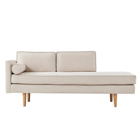 Kirsten Mid Century Chaise Lounge With Cushion Beige Linen Inspire Q Target