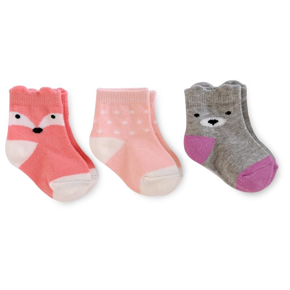 Baby Girls' 3pk Fox/Dots/Bear Socks - Cat & Jack Multicolor 6-12M, Multi-Colored