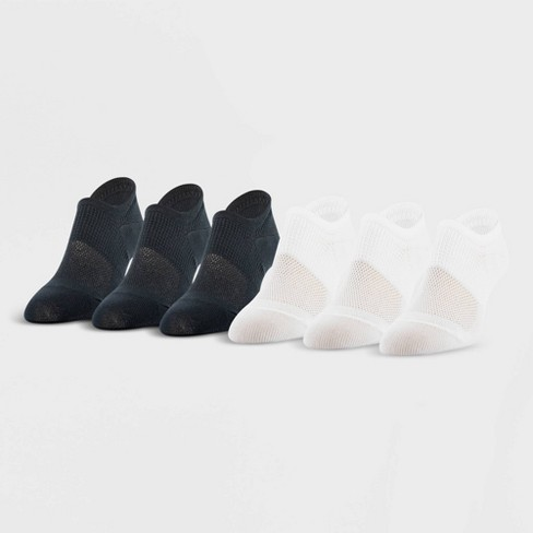 Peds Women's All Day Active 6pk Ultra Low Liner Casual Socks - Black/White 5-10 - image 1 of 2