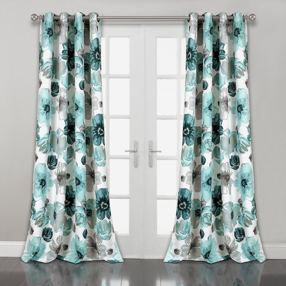 "Image of ""108""""x52"""" Leah Room Darkening Window Curtain Panels Blue - Lush Decor, Blue/White"""