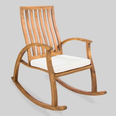 Cayo Acacia Wood Outdoor Patio Rocking Chair - Natural/Cream - Christopher Knight Home