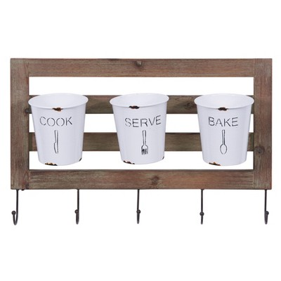 Hanging Storage Utensil with Hooks and Distressed Wood White - Danya B.