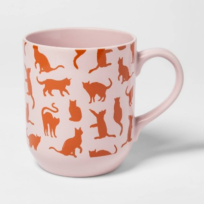 26oz Stoneware Cat Mug Pink - Room Essentials™