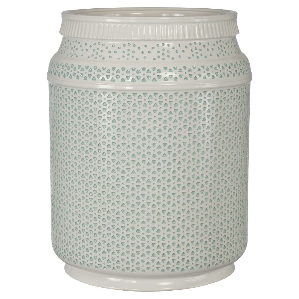 Boho Wastebasket basket Light Blue/White - Creative Bath
