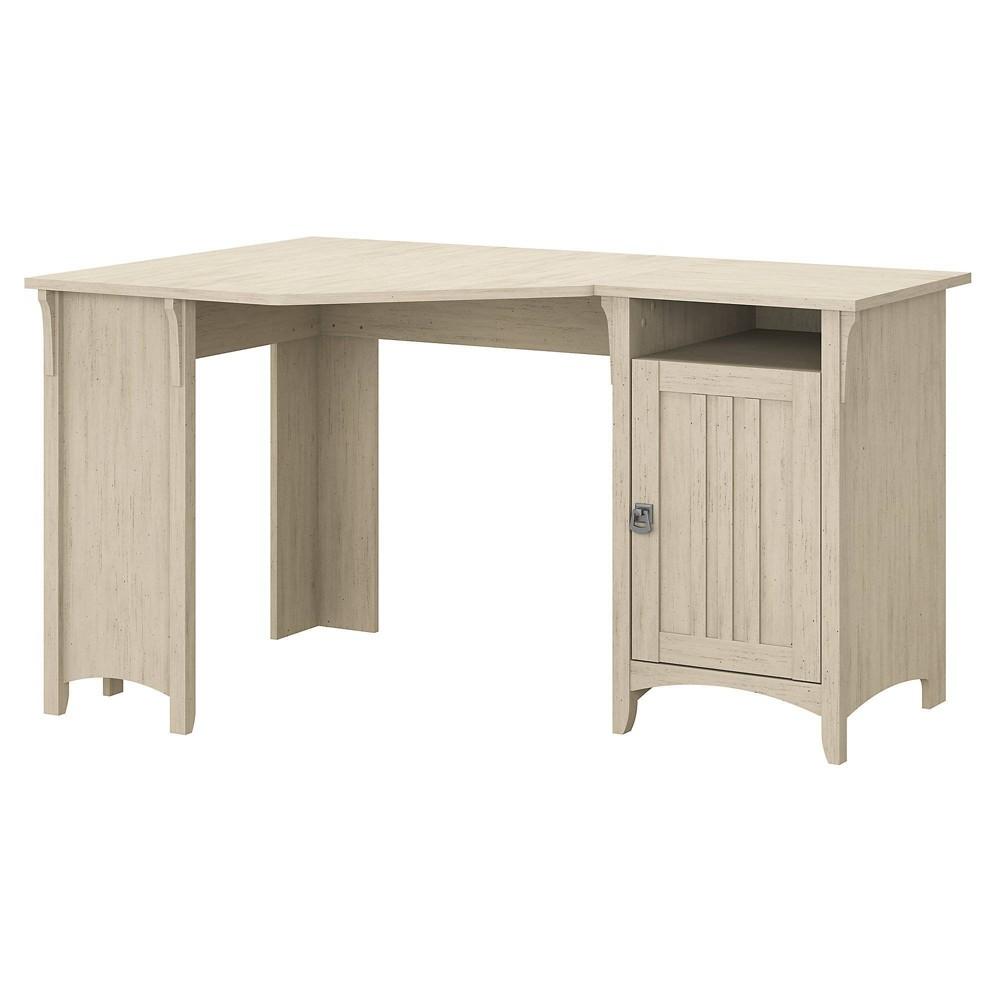 """Salinas 55""""W Corner Desk with Storage Antique White - Bush Furniture"""
